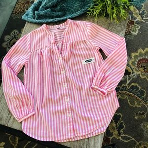 Pink and White Striped Blouse